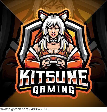 Kitsune Gaming Esport Mascot Logo Design With Text