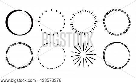 Hand Drawn Circle Line Badge Set. Rustic, Grunge Style Circle Badge For Frame, Label, Burst Border.