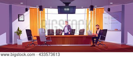 Job Hire, Hr Manager, Employer Invite Candidate In Office Vacant Place. Businessman With Laptop Sit