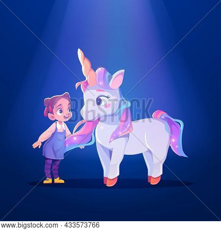 Unicorn And Little Girl Cartoon Characters, Child And Cute White Pony Or Horse With Horn And Rainbow