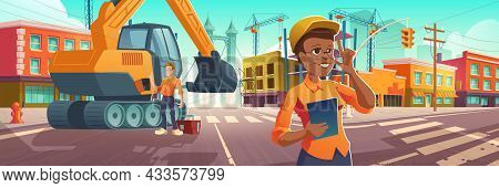 Construction Works In City, Worker And Architect With Plan On Site With Excavator And Building Crane