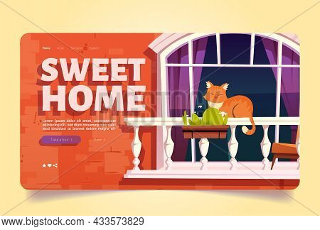 Sweet Home With Cat Sleep On Balcony Cartoon Landing Page. Pet Relax Outside Of House. Calm Kitten L