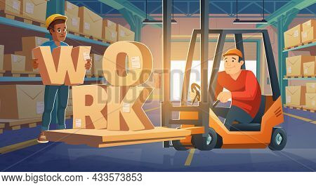 Work In Warehouse, Forklift Driver Loading Cardboard Boxes On Racks. Freight Distribution, Logistics