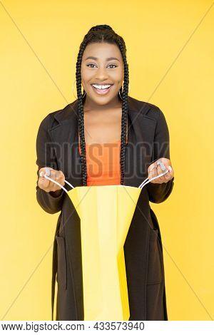 Satisfied Customer. Black Friday. Loyalty Program. Joyful Smiling African Woman With Purchase Shoppi