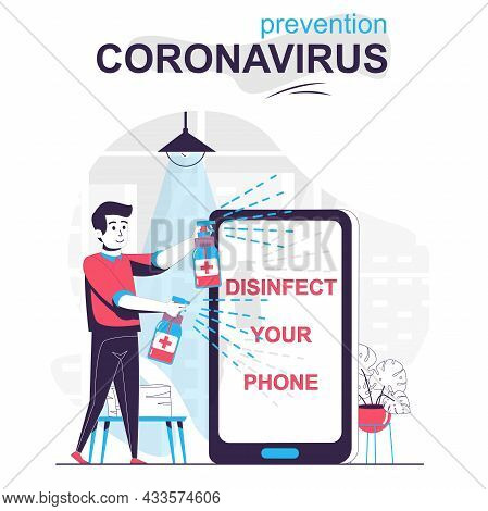 Prevention Coronavirus Isolated Cartoon Concept. Man Spraying Disinfectant To Mobile Phone, People S