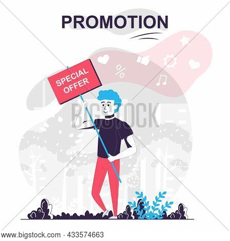 Promotion Isolated Cartoon Concept. Man Announces Special Offer, Attracts Buyers, Marketing People S