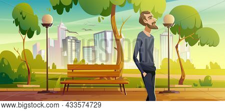 Man Walk In City Park Enjoy Nature, Relaxed Male Character Breath Fresh Air During Unhurried Promena