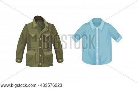 Casual Outfit For Men Set. Stylish Khaki Windbreaker And Short Sleeved Shirt Vector Illustration