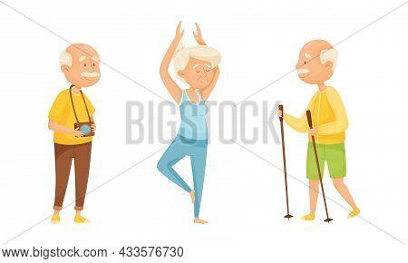 Set Of Elderly People Enjoying Various Hobbies. Senior Men And Women Doing Yoga, Nordic Walking, Pho