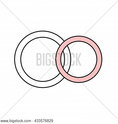 A Pair Of Wedding Rings Of The Bride And Groom. Jewelry. Simple Wedding Icon. Doodle Vector Illustra
