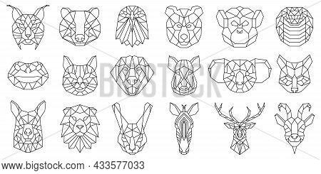 Linear Polygonal Animal Bear, Snake, Dog Geometric Heads. Low Poly Animals Faces, Boar, Llama, Lynx