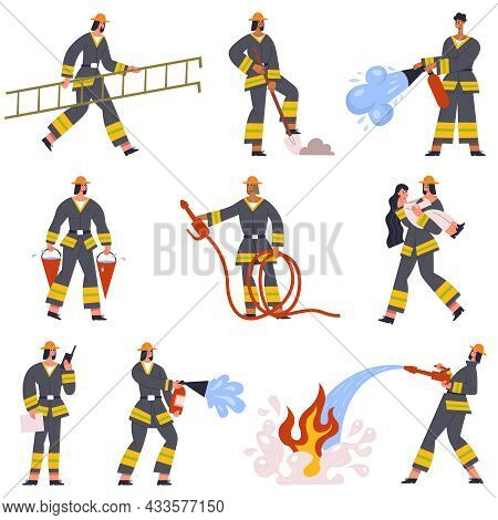 Brave Firefighters Rescue Emergency Service Characters In Action. Fireman With Fire Extinguishing Re
