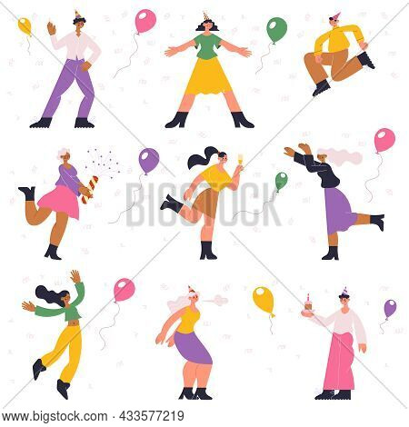 Birthday Party Preparation, Celebration, Dancing, Happy Characters. People Having Fun, Celebrating W