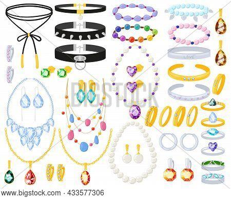 Cartoon Golden, Silver Jewel Accessories Necklace, Bracelet And Earrings. Women Jewellery Gold Silve