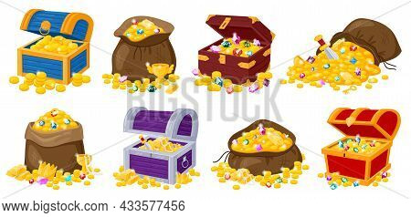 Cartoon Pirate Wooden Chests, Fabric Bags With Golden Treasures And Gemstones. Pirate Treasure Of Go