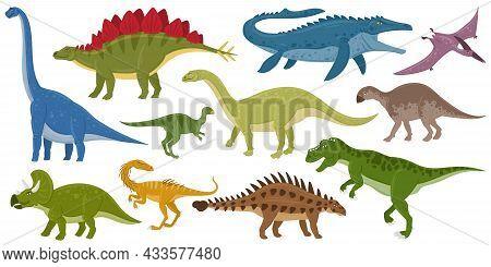 Cartoon Dinosaurs, Ankylosaurus, Brontosaurus, Stegosaurus Extinct Raptors. Pterodactyl And Tyrannos