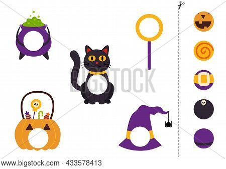 Cut And Glue Parts Of Halloween Elements. Educational Logical Game For Kids. Matching Game.