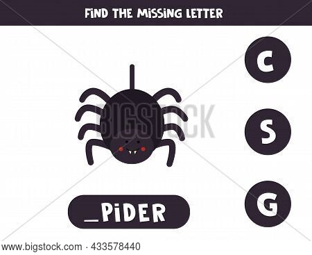 Find Missing Letter. Cute Spider. Educational Spelling Game For Kids.