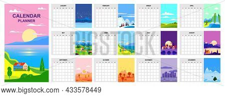 Calendar Planner Minimalistic Landscape Natural Backgrounds Of Four Seasons Template. Winter, Spring