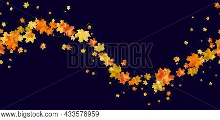 Seamless Pattern Bright Colorful Maple Autumn Foliage Isolated On Dark Blue Background. Graphic Desi