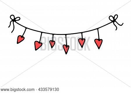 Doodle Valentines Day Thread Garland. Hand-drawn Festoon Isolated On White Background. Color Festive