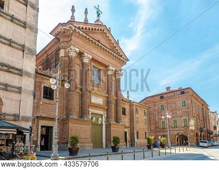 Fossano, Italy - June 27,2021 - View At The Cathedral Of San Giovenale And Santa Maria In The Street