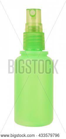 Green plastic sprayer bottle pump spray isolated on white background