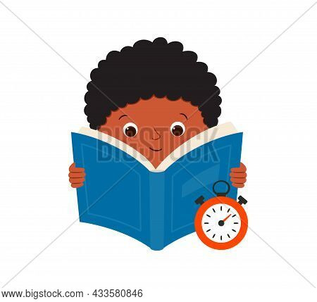 Speed Reading. A Black Boy Reads A Book And Measures The Speed Of Reading. Vector Illustration Isola