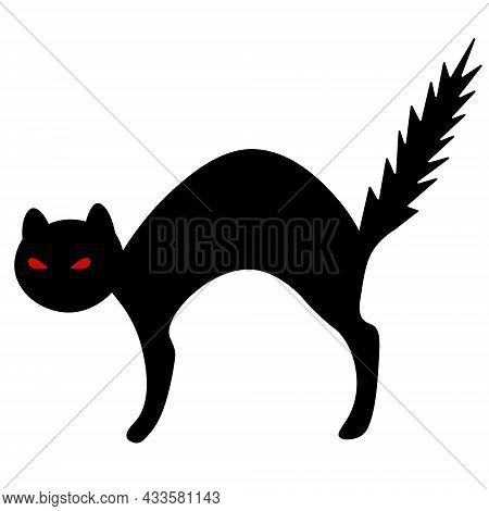 Cat. Red Eyes. The Frightened Animal Bristled. Silhouette. Vector Illustration. Outline On An Isolat