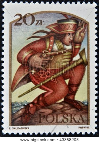 stamp printed in Poland dedicated to Polish legends shows Juraj J�no��k
