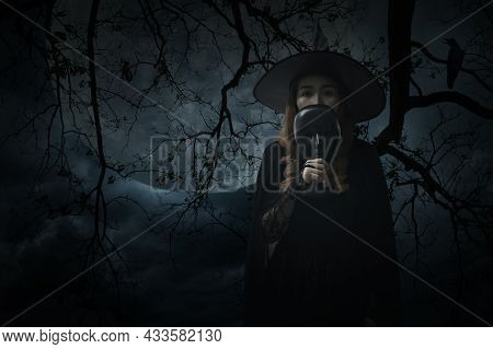 Halloween Witch Holding Black Face Mask Standing Over Dead Tree, Crow, Birds, Full Moon And Spooky C