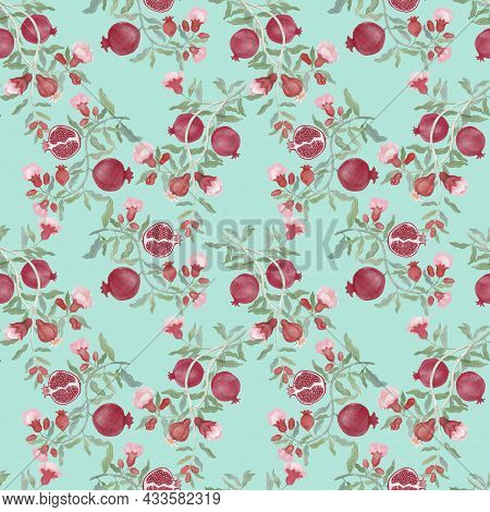 Pomegranate Fruit And Flower Blossom Seamless Repeated Pattern On Green Color Background, Branches F