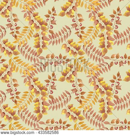 Yellow, Brown Autumn Leaves, Berry Fruit Seamless Repeated Pattern On Pastel Color Background, Branc