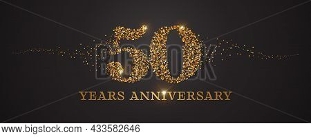 50 Years Anniversary Vector Icon, Logo. Graphic Design Element With Golden Glitter Number