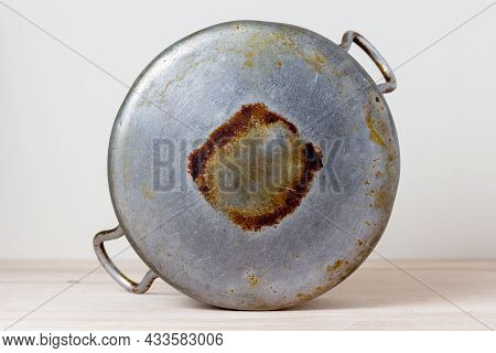 Bottom Old Aluminum Pan With Traces Of Burnt And Soot