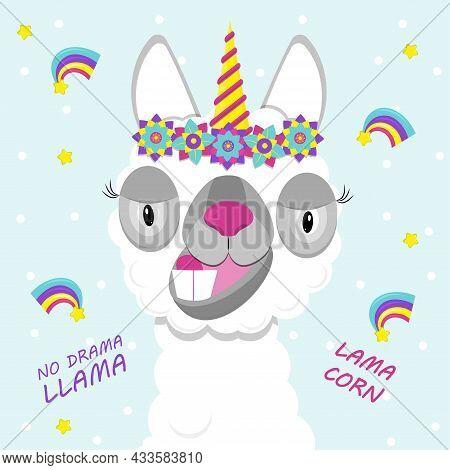 Cute Lama With Unicorn Horn.  Flat Image Of Cute And Funny Animal. Lamacorn.