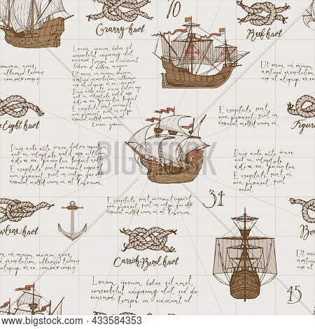 Vintage Seamless Pattern With Handwritten Text Lorem Ipsum And Hand-drawn Sailboats, Various Sea Kno