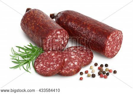 Smoked Sausage Salami Isolated On White Background With Clipping Path And Full Depth Of Field