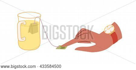 Womans Hand Making Hot Tea In Cup, Brewing It With Teabag. Herbal Beverage In Glass Mug. Warming Mor