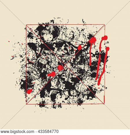 Abstract Vector Banner With Chaotic Black Spots And Red Drops Of Paint Or Blood On An Old Paper Back