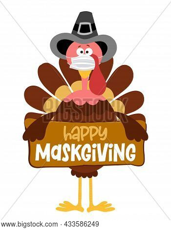 Happy Maskgiving 2021 - Thanksgiving Day Poster With Cute Turkey Wearing Mask. Autumn Color Poster.