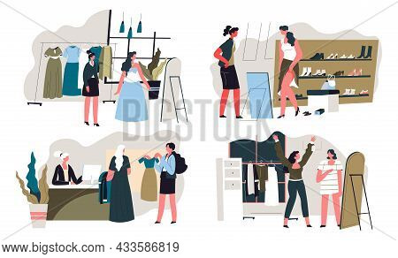 Shopping In Fashion Boutique, Store Or Ladies Shop