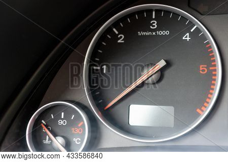 Dashboard With Speedometer, Tachometer, Odometer. Car Detailing. Car Dashboard. Dashboard Details Wi