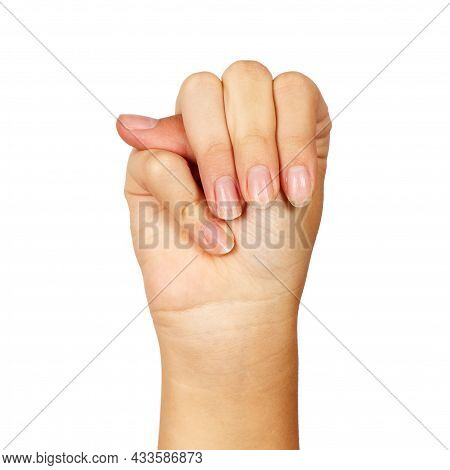 American Sign Language. Female Hand Showing Letter M. Isolated On White Background