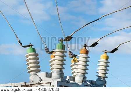 High Voltage Electric Generator Insulators.detail Of High Voltage Circuit Breaker In A Power Substat