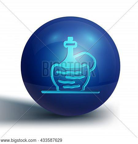 Blue Wine In Italian Fiasco Bottle Icon Isolated On White Background. Wine Bottle In A Rattan Stand.