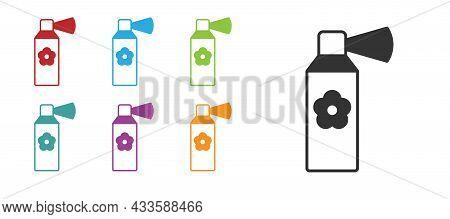 Black Air Freshener Spray Bottle Icon Isolated On White Background. Air Freshener Aerosol Bottle. Se