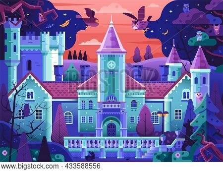 Fairy Tale Gothic Castle In Forest Scene