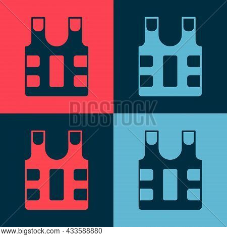 Pop Art Bulletproof Vest For Protection From Bullets Icon Isolated On Color Background. Body Armor S