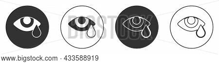 Black Tear Cry Eye Icon Isolated On White Background. Circle Button. Vector